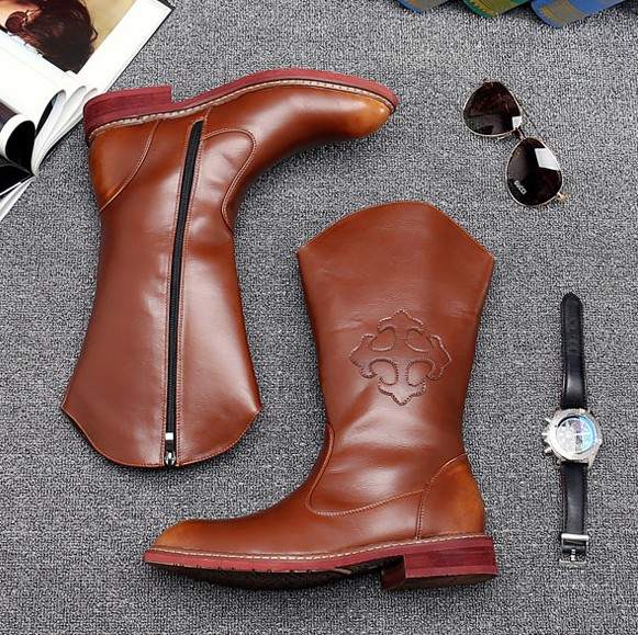 Fashion Man Riding Equestrian Boots Pointed Toe Zip Cow Boy High Boots Motorcycles