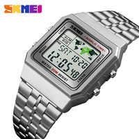 Relojes deportivos para hombre con reloj Digital LED para hombre Relojes de pulsera de acero inoxidable para hombre, Relojes de pulsera resistentes al agua SKMEI