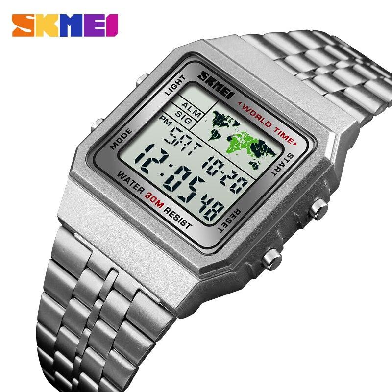 LED Relógio Dos Homens Digitais Esportes Relógios Homens Relogio masculino Relojes Militar Aço Inoxidável relógios de Pulso À Prova D' Água SKMEI