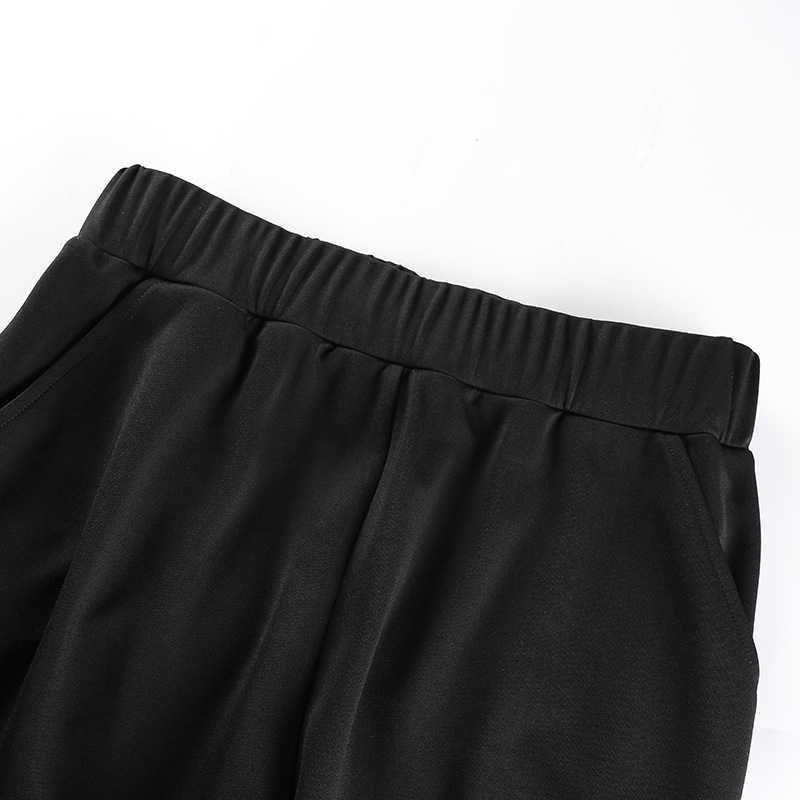 Sexy Elegante Open Seite HOSEN Capris Frauen Trendy Hosen Hohe Split Hohe Taille Jogger Zipper Schwarz Hipsters Hosen Slacks