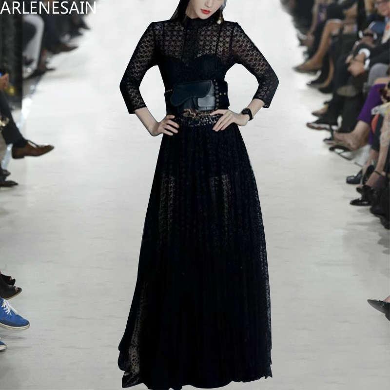 Arlenesain personnalisé 2019 nouvelle robe en dentelle noire sexy femmes robe