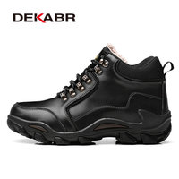 DEKABR Men Hiking Shoes Waterproof Outdoor Mountain Climbing Trekking Shoes Men Winter High Quality Leather Sport
