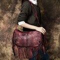 2017 Genuine Leather Vintage Women Handbag Handmade Cow Leather Tassel Bag Shoulder Messenger Bag Long Design Red/Green