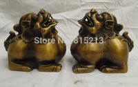 bi001352 Chinese Folk Classic Bronze Fu Foo Dog Lion Buddhism Censer incense burner
