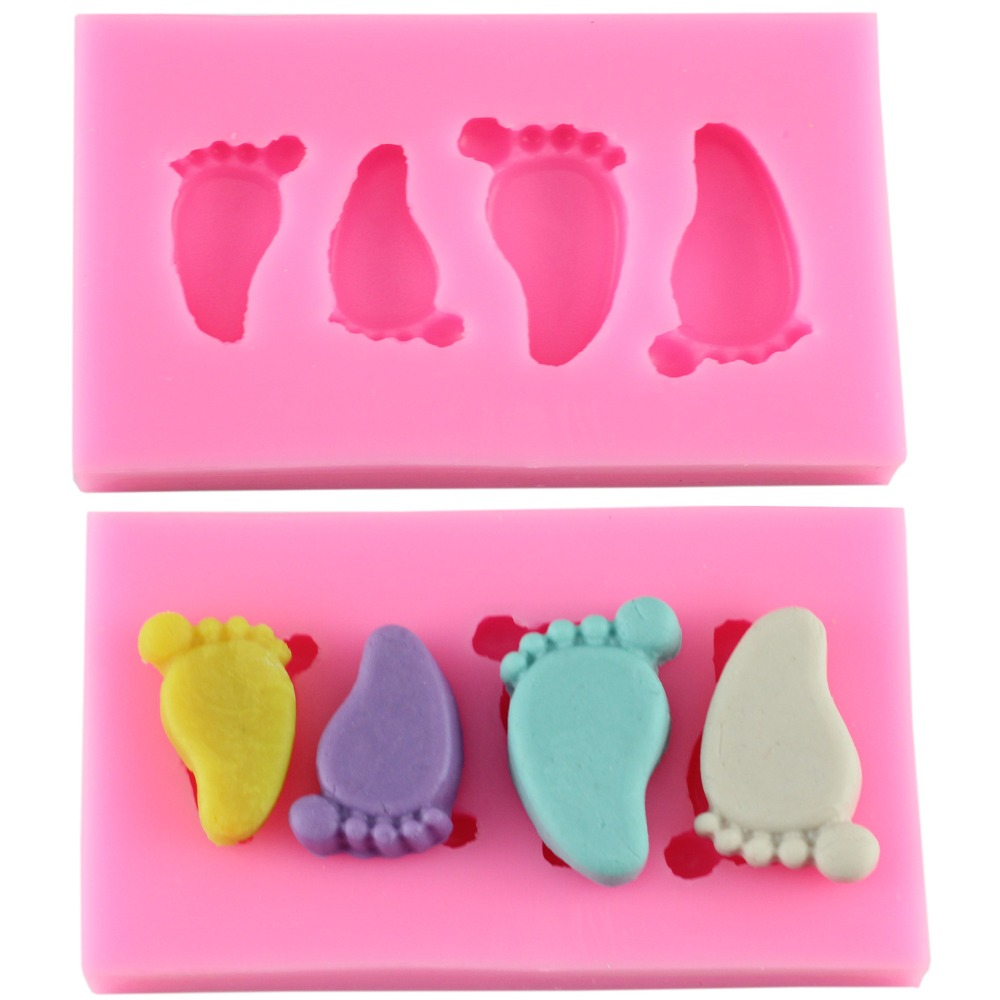 Cake Decorating Baby Feet : Cute Baby Foot Silicone Fondant Molds Chocolate Mold Sugar ...