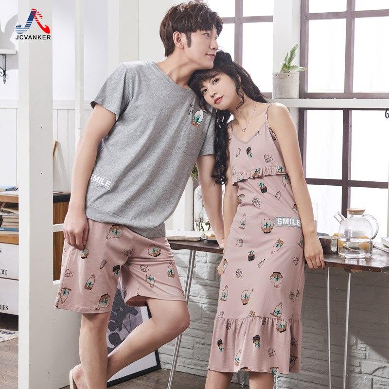 JCVANKER 2018 Summer Cotton Nightgowns For Women Man Top Quality Female Sleeveless Male Shorts Sleepwear Homewear Pyjamas Suit