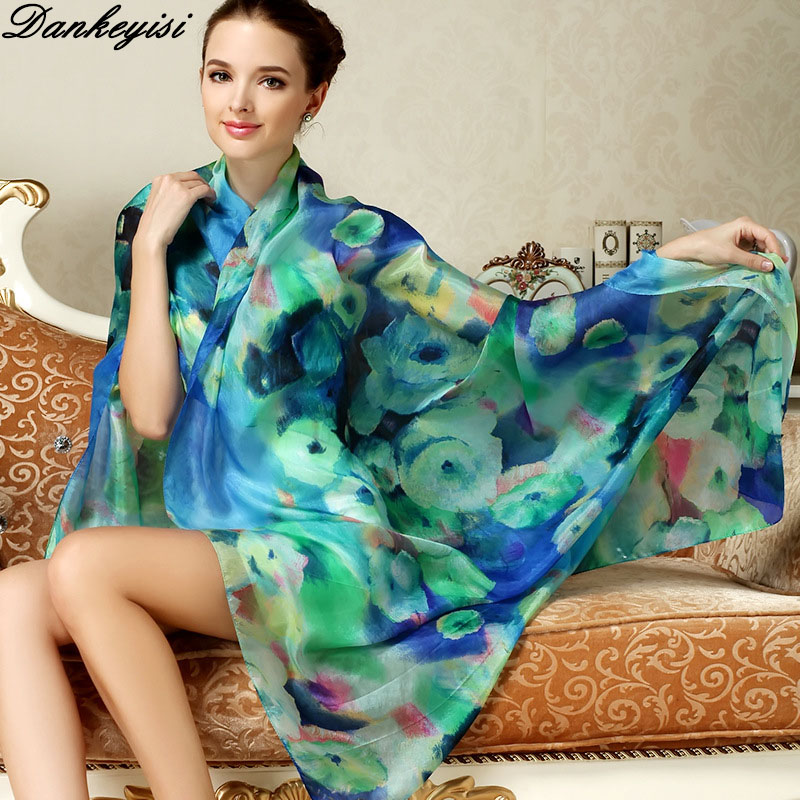 DANKEYISI Brand Women Long Silk Scarf Shawl Spring Autumn Female Silk Scarves Printed Summer 100% Genuine Silk Beach Cover-ups