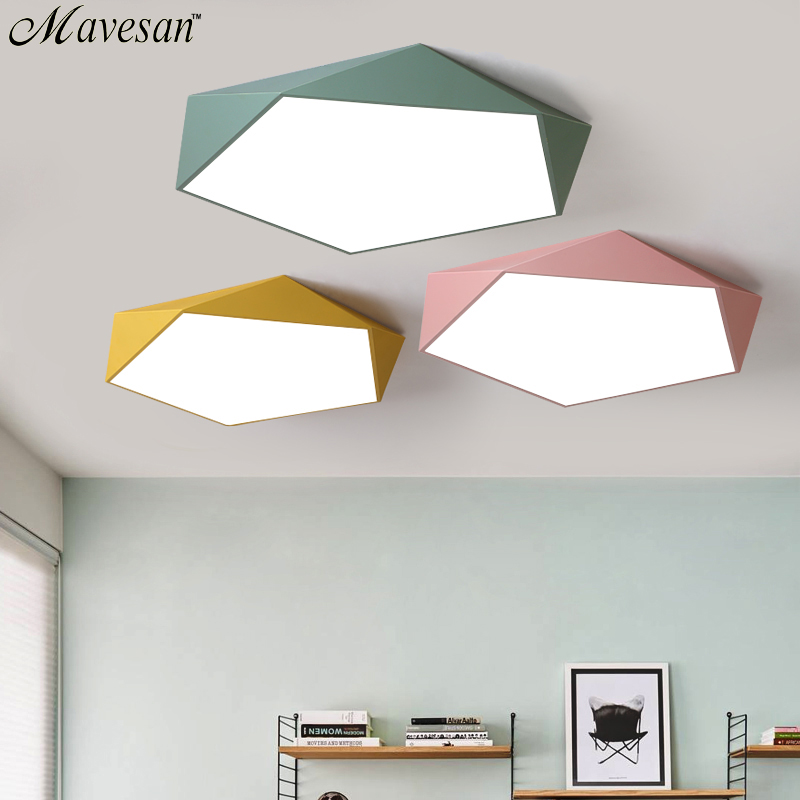 Macarons Ceiling Lights Colorful Lampshade Lamp For Living room Bedroom Kids room ceiling mount indoor Lights Ceiling Lights-in Ceiling Lights from Lights & Lighting