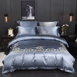Image 2 - Jacquard Silk Cotton Luxury Bedding Sets King Size Queen Bed Set Lace Duvet Cover Bed Sheet Pillowcase White bed linen gift