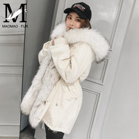 Winter Real Fur Coat Women Fashion Raccoon Fur Jacket Ladies Detachable Warm Thick Natural Raccoon Fur Collar Hooded Parka