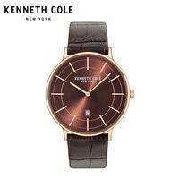 Kenneth Cole Mens часы 2018 Элитный бренд KC15057013 Нержавеющаясталь кварц кожаный ремешок с пряжкой календарь пару часов