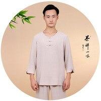 zen lay meditation uniforms Buddhist monk lohan arhat clothing shaolin kung fu suits Conjuntos de Arte Marcial