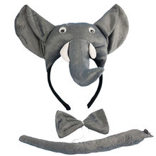 Children Adult Elephant Headband Animal Cosplay Tie Tail Props Party Halloween Costume for Kids Christmas Baby Shower(China)