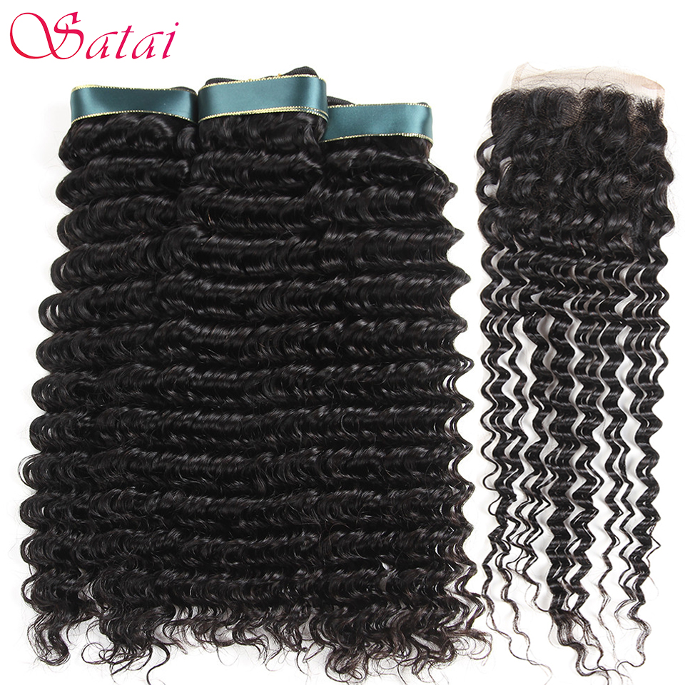 Satai Brazilian Deep Wave 3 Bundles With Closure Top Human Hair Bundles With Closure Brazilian Hair Weave Bundles Non Remy Hair