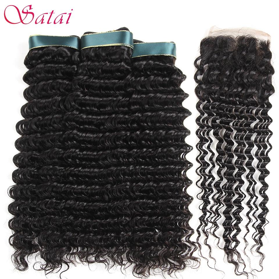 Satai Brazilian Deep Wave 3 Bundles With Closure Top Human Hair Bundles With Closure Natural Color Brazilian Hair Weave Bundles