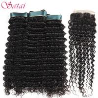 Satai Deep Wave 3 Bundles With Closure Human Hair Bundles With Closure Natural Color Brazilian Hair