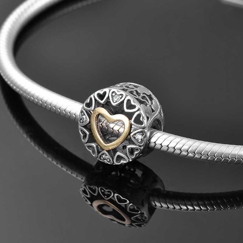 2018 nueva forma de Corazón Dorado 925 Plata de Ley DIY cuentas finas Ajuste Original Pandora encanto pulsera fabricación de joyas