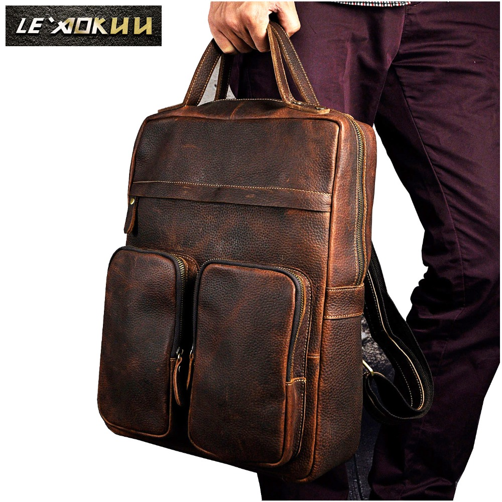 Original Leather Heavy Duty Large Design Men Travel Casual Backpack Daypack Rucksack Fashion College School Book