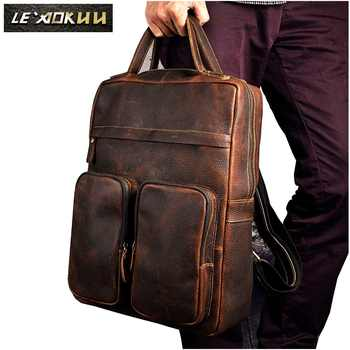 Original Leather Heavy Duty Large Design Men Travel Casual Backpack Daypack Rucksack Fashion College School Book Laptop Bag 2107 - DISCOUNT ITEM  49% OFF All Category