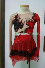 competiton ice skating dress hot sale high quality figure skating dress red ice skating dress free