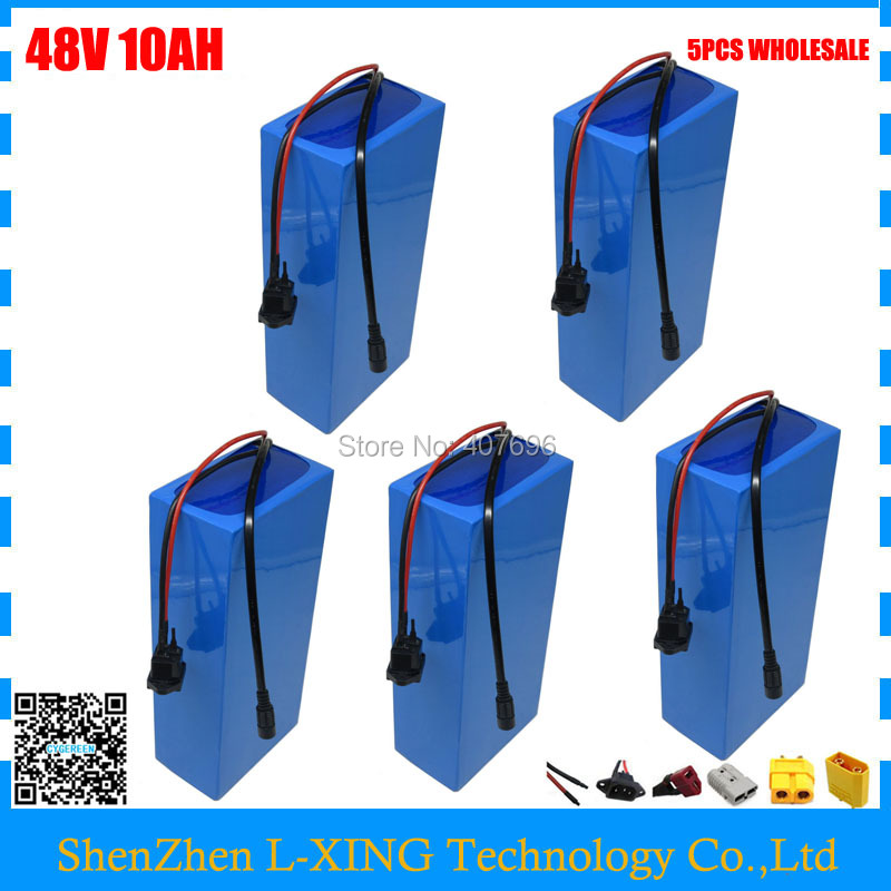 5PCS Wholesale 48 V 10AH Electric bike battery 48V 10AH Lithium ion battery with 15A BMS 2A Charger Free customs duty 48v lithium ion battery silver fish case electric bike battery 48v 10ah ebike li ion battery with 2a charger