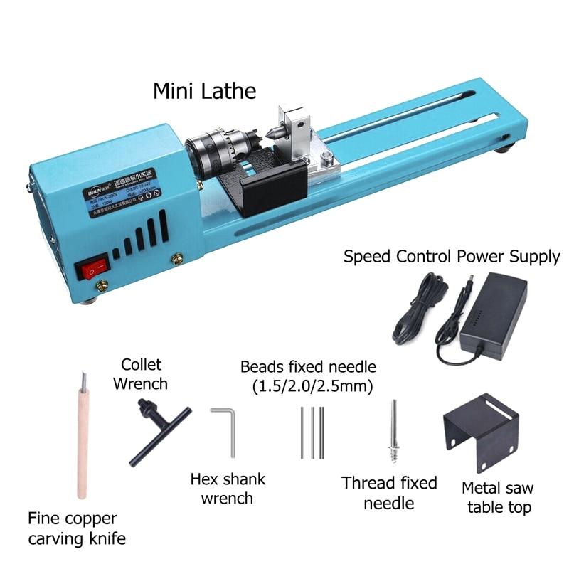 Mini DIY 150W Wood Lathe Bead Cutting Machine Polishing Grinding Tools Drilling