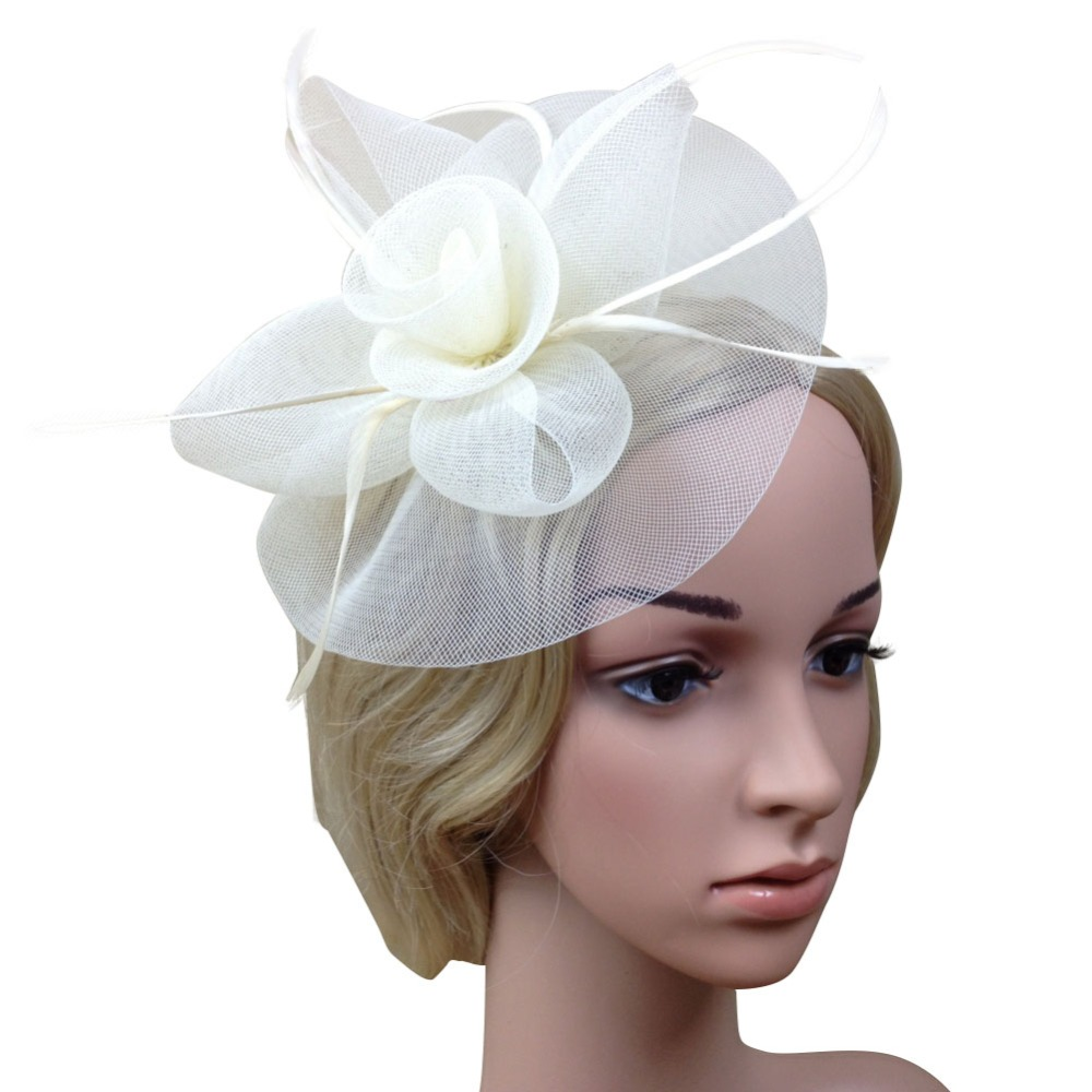 Champagne tan Bridal Wedding Fascinator Feather Hair Clip Made in USA