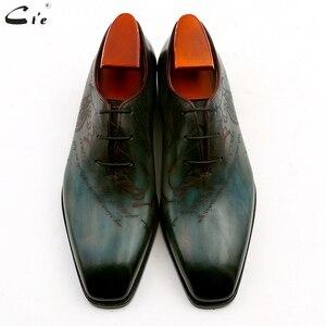 Image 4 - Cie bout carré uni coupe entière patine paon pleine fleur véritable cuir de veau oxford hommes chaussure en cuir sur mesure hommes chaussure ox15