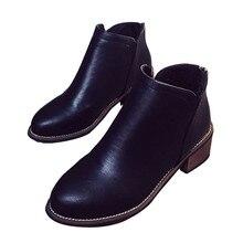 Las Mujeres clásicas Botas Cortas Otoño Primavera Señoras de las mujeres Botines Caballero Casual Zapatos Slip On Punta Redonda Bajo el Talón de Bloque
