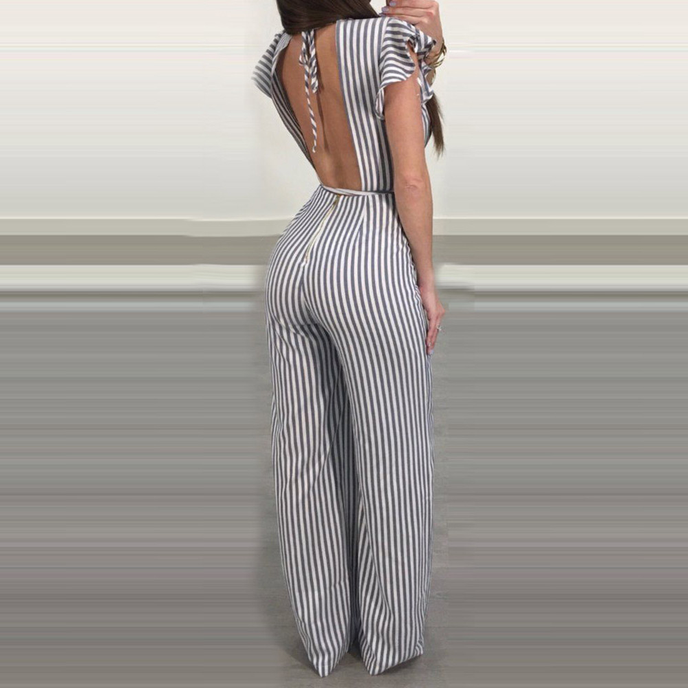 Women/'s Sleeveless Striped Jumpsuit Sexy Backless Ruffle Loose Trousers Leotard Catsuit Combinaison Wide Leg Pants Outfit #HF