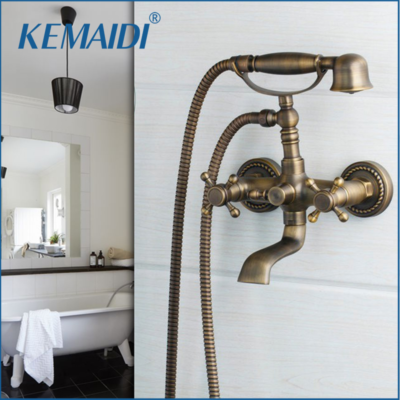 KEMAIDI Antique Brushed Brass Bathroom Faucet Bath Faucet Mixer TaP Wall Mounted Hand Held Shower Head Kit Shower Faucet Sets luxury gold brass bathroom faucet bath faucet mixer tap wall mounted hand held shower head kit shower faucet sets sf1033
