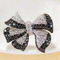 EDI Уникальный Бантом Форма Black Diamond Ring 14 К 585 Белое Золото Природный Алмаз Обручальное Для Женщин Рождественские Украшения Подарки