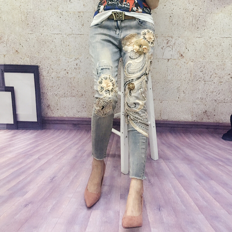 Europe Style Jeans Woman Spring New Heavy Industry Embroidery Flower Bronzing Sequins Nine Minute Small Leg Jeans Pencil Pants