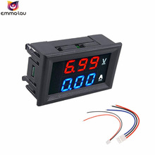 Dual LED Color Display Current Voltage Meter Tester Mini Digital DC 100V 10A Voltmeter Ammeter Panel With Wires