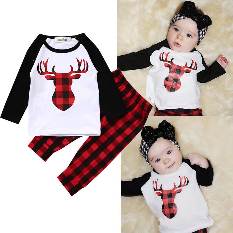 Cute Fashion Newborn Baby Boy Girl Clothes Set 2PCS Bebes XMAX Deer Top T-shirt Red Plaid Pant Outfit Bebek Giyim Tracksuit 2017 newborn baby boy girl clothes floral infant bebes romper bodysuit and bloomers bottom 2pcs outfit bebek giyim clothing