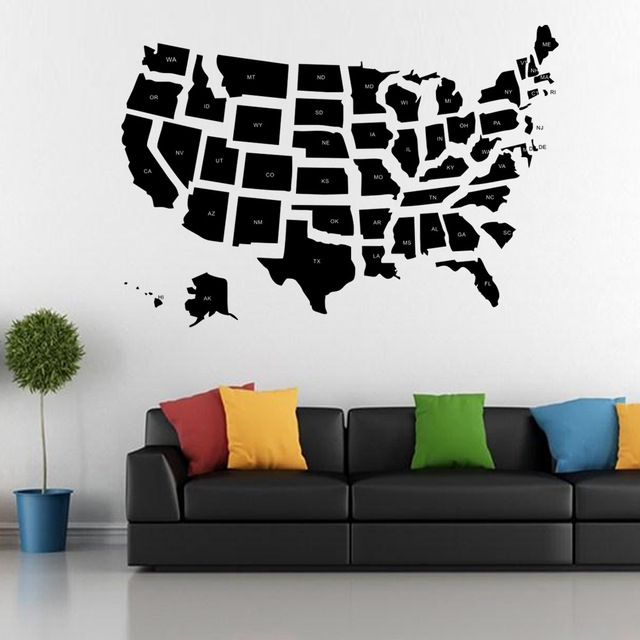 United States Map Wall Decor.World American United States Map Silhouette Wall Art Stickers Wall