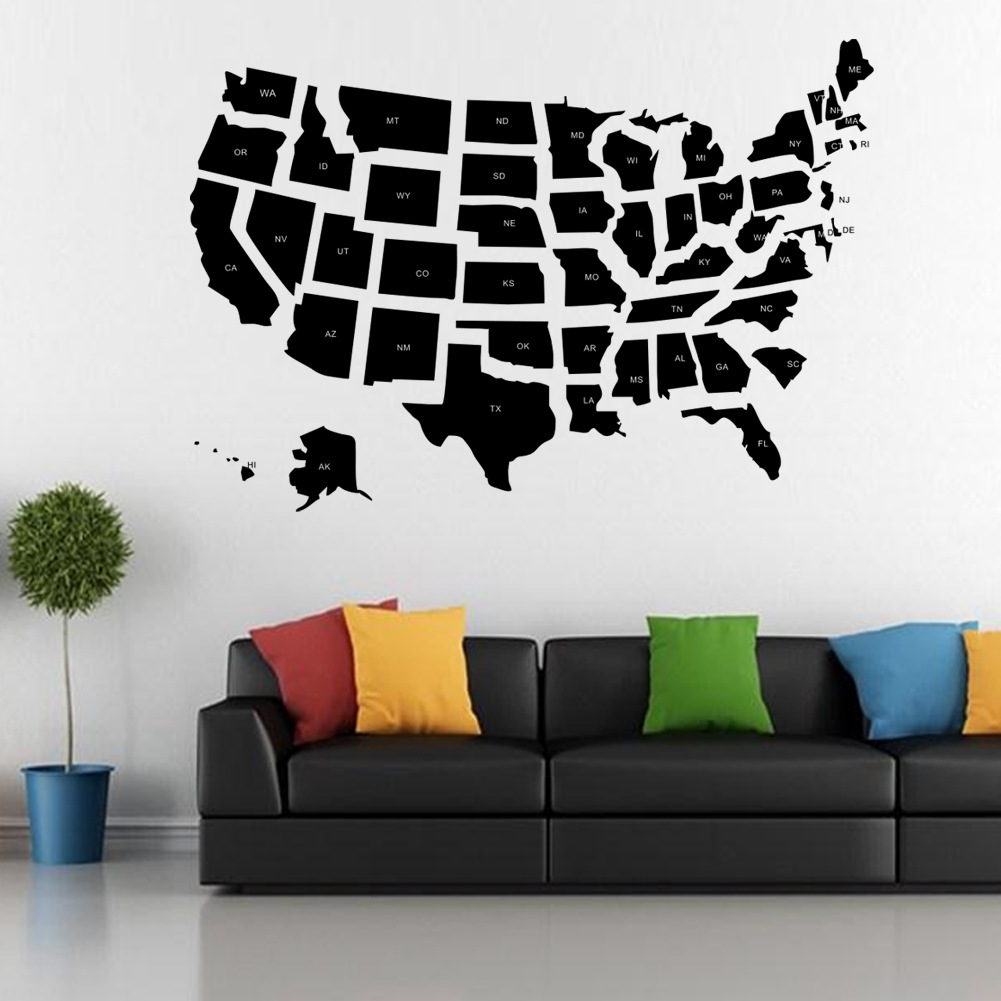 World-American United States Map Silhouette Wall Art Stickers Wall Decal Home DIY Decoration