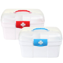Safurance Plastic 2 Layers Home Medicine Chest First Aid Kit Holder Storage Box Emergency Kits Security Safety