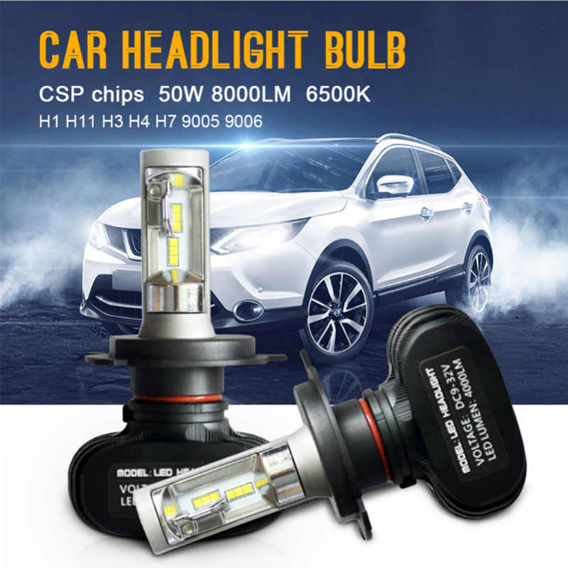 2pcs S1 H4 led H7 H11 Led H1 Auto Car Headlight 50W 8000LM 6000K 9005 HB3 9006 HB4 Automobile headlight Bulb All In One CSP Lamp