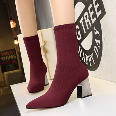 New Fashion simple womens boots thick with high-heeled pointed slimming sexy nightclub stretch wool bootiesNew Fashion simple womens boots thick with high-heeled pointed slimming sexy nightclub stretch wool booties