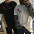New Rose Bordado Suelta de Manga Corta Amantes de la Camiseta Remata camisetas Inconformista