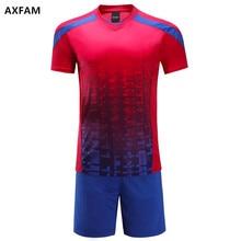 AXFAM 2017 Men's Short sleeves Blank Soccer Sets Jerseys shorts Custom Training Suit High quality Football Uniforms JUN66007