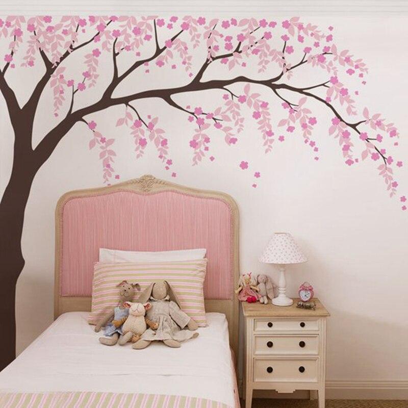 Bébé filles chambre sticker mural cerisier fleur arbre Art décor vinyle autocollants, feuilles arbre Stickers muraux pour pépinière décoration murale