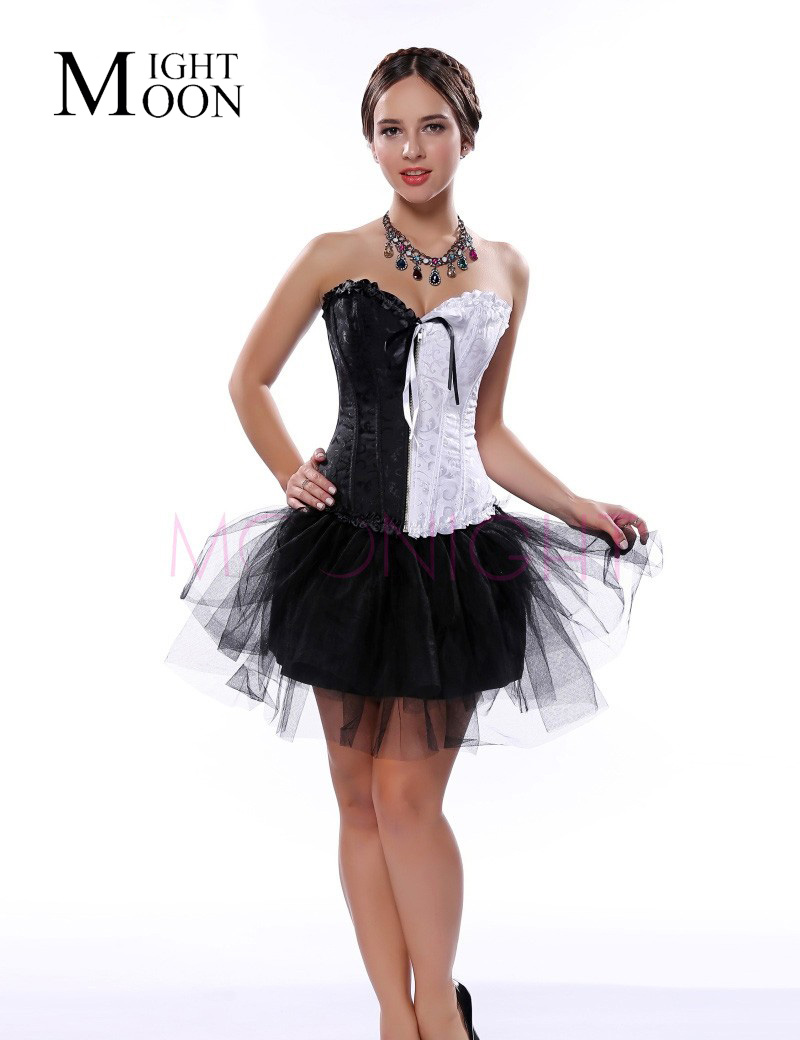 MOONIGHT Sexy Corset Top Overbust Waist Women Corset Dobby Corsets and Bustiers