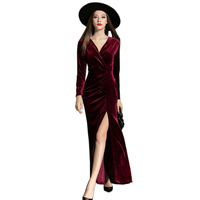 2016 Autumn Winter Dresses Women Velvet Dress Evening Party Vintage Sexy High Split Long Maxi Dresses