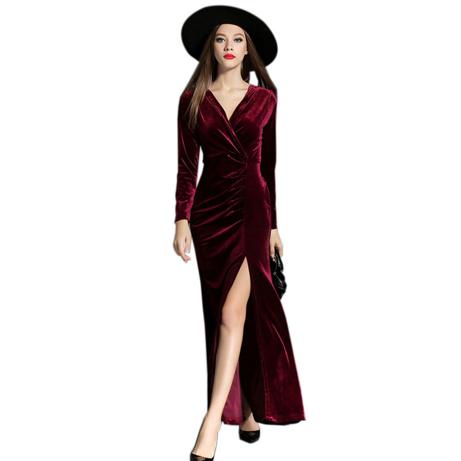 2017 Autumn Winter Evening Party Dresses Red Velvet Dress -6207
