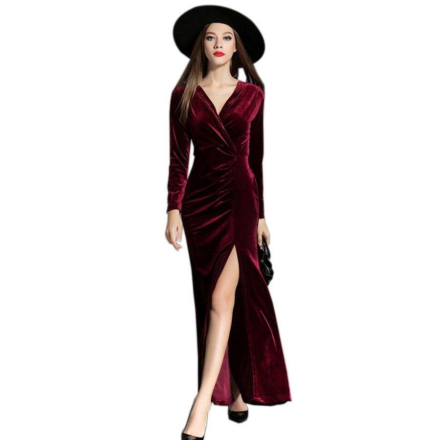 2017 Autumn Winter Evening Party Dresses Red Velvet Dress Women Sexy High Split Long Maxi Dresses Christmas Runway Vestido Longo