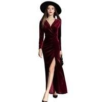 2016 Autumn Winter Dresses Women Velvet Dress Evening Party Vintage Sexy High Split Long Maxi Dresses