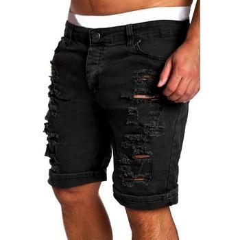 MJARTORIA 2019 New Men's Regular- Denim Short Jean Pants Summer Casual Hole Zipper  Mid Waist Shorts Men's Solid Jean Shorts