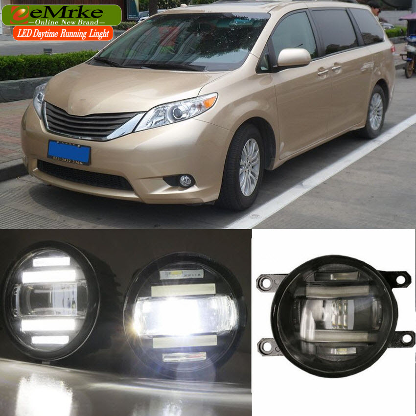 eeMrke Xenon White High Power 2in1 LED DRL Projector Fog Lamp With Lens For Toyota Sienna XL30 2010-up